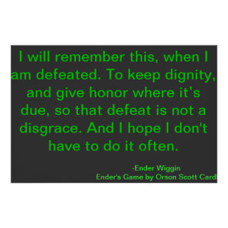 Cita de motivación Orson Scott Card de la derrota Póster