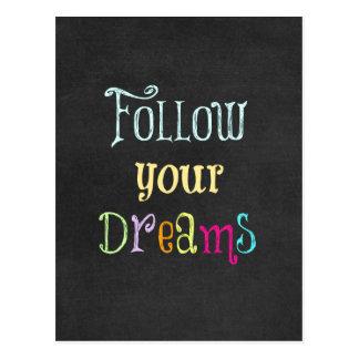 Cita de motivación: Siga sus sueños Postal