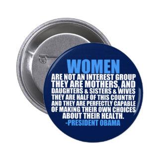 Cita de Obama de las derechas de las mujeres Pin Redondo 5 Cm