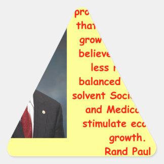 cita de Paul del rand Pegatina Triangular