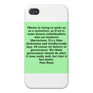 cita de Paul Ryan iPhone 4 Protectores