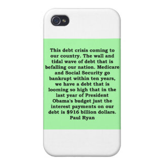 cita de Paul Ryan iPhone 4 Funda