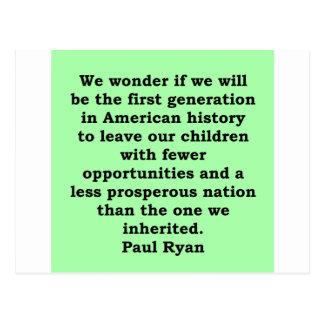 cita de Paul Ryan Postal
