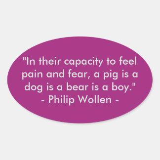 Cita de Philip Wollen - activista de los derechos Pegatina Ovalada