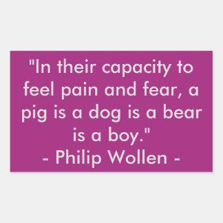 Cita de Philip Wollen - activista de los derechos Pegatina Rectangular