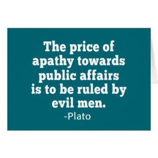 Cita de Platón en la apatía hacia política Tarjeta De Felicitación