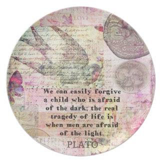 Cita de Platón sobre la vida, deshonestidad, miedo Platos Para Fiestas