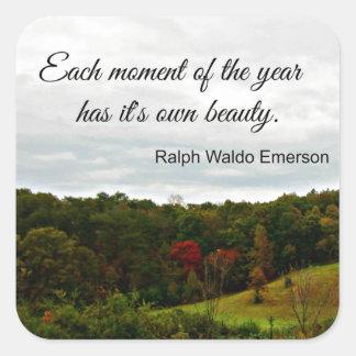 Cita de Rafael Emerson: Cada momento del año Pegatina Cuadrada