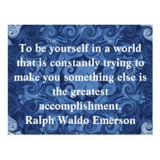 CITA de Ralph Waldo Emerson inspirada Postal