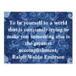 CITA de Ralph Waldo Emerson inspirada Tarjetas Postales