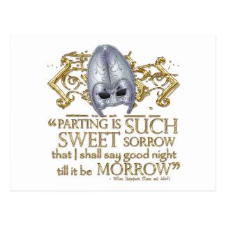 Cita de Romeo y de Juliet versión del oro Tarjetas Postales