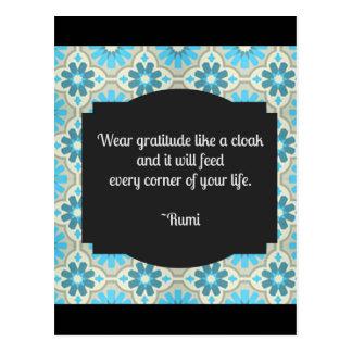 Cita de Rumi de la gratitud Postales