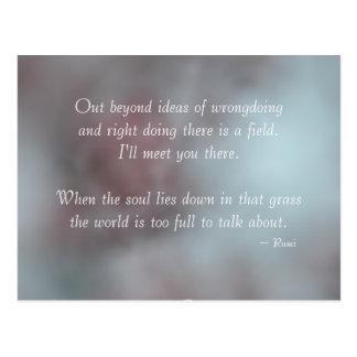 Cita de Rumi de la tolerancia Tarjeta Postal