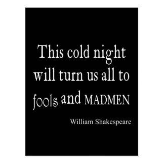 Cita de Shakespeare de los tontos y de los locos Postales