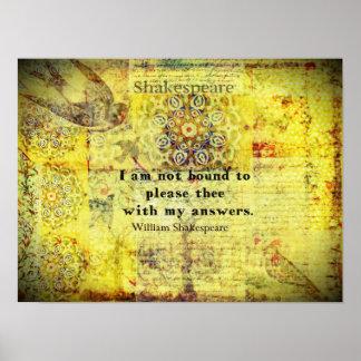 Cita de Shakespeare Póster