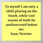 cita de sir Isaac Newton Póster