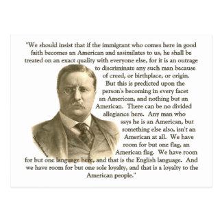 Cita de Teddy Roosevelt Postal