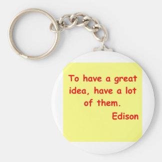 Cita de Thomas Edison Llavero Redondo Tipo Pin