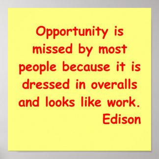 Cita de Thomas Edison Posters