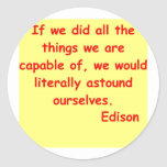 Cita de Thomas Edison Pegatina Redonda