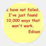 Cita de Thomas Edison Pegatinas Redondas