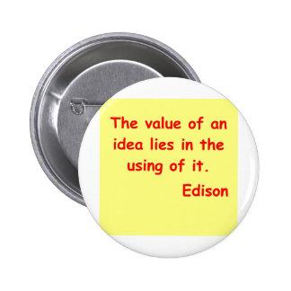 Cita de Thomas Edison Pin Redondo De 2 Pulgadas