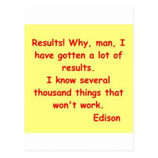 Cita de Thomas Edison Tarjeta Postal