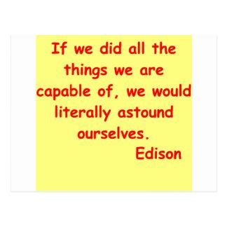 Cita de Thomas Edison Postales