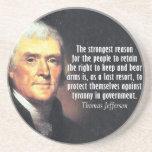 Cita de Thomas Jefferson a la derecha de llevar lo Posavasos Manualidades