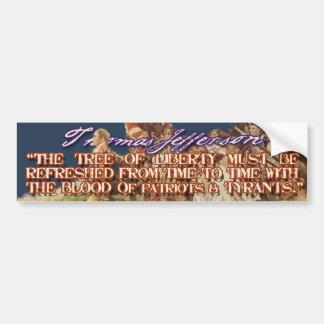 Cita de Thomas Jefferson: Árbol de la libertad Etiqueta De Parachoque