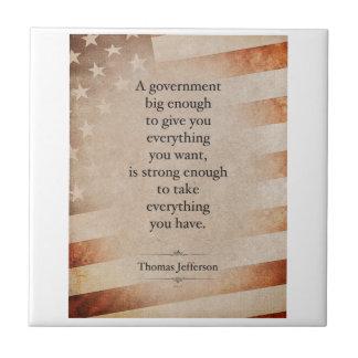 Cita de Thomas Jefferson Azulejo Cuadrado Pequeño