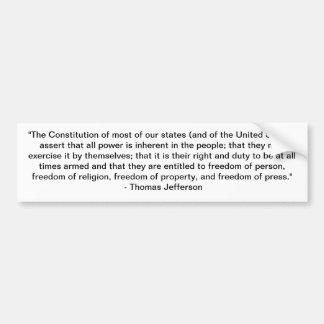 Cita de Thomas Jefferson - constitución Pegatina Para Auto