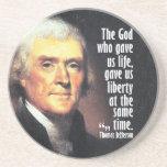 Cita de Thomas Jefferson en dios y libertad Posavasos Cerveza