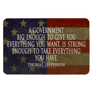 Cita de Thomas Jefferson en el gobierno grande Imanes De Vinilo