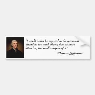 Cita de Thomas Jefferson en pegatina para el parac Pegatina Para Auto