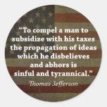 Cita de Thomas Jefferson Etiqueta Redonda