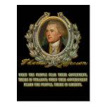 Cita de Thomas Jefferson:  Gobierno y la gente Tarjeta Postal