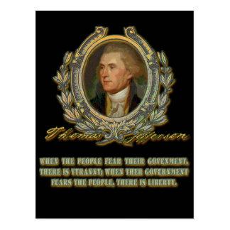 Cita de Thomas Jefferson:  Gobierno y la gente Postal