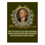 Cita de Thomas Jefferson:  Gobierno y la gente Tarjetas Postales