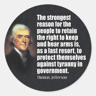 Cita de Thomas Jefferson Pegatina Redonda