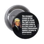 Cita de Thomas Jefferson Pin Redondo De 2 Pulgadas