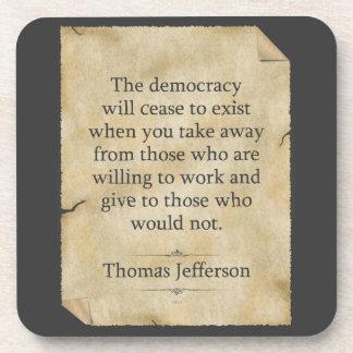 Cita de Thomas Jefferson Posavasos De Bebida