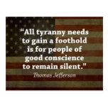 Cita de Thomas Jefferson Tarjetas Postales