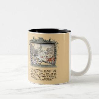 Cita de Thomas Jefferson: Tiranía en el gobierno Taza De Café De Dos Colores