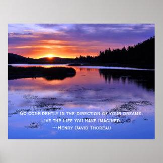Cita de Thoreau y salida del sol de Big Bear Póster