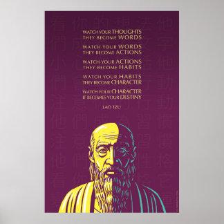 Cita de Tzu del Lao: Mire sus pensamientos Póster