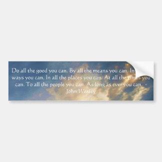 Cita de vida de John Wesley con las nubes del ciel Pegatina Para Auto