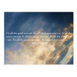 Cita de vida de John Wesley con las nubes del ciel Tarjeta Postal