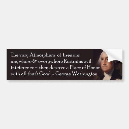 Cita de Washington en las armas de fuego Bumpersti Pegatina Para Auto
