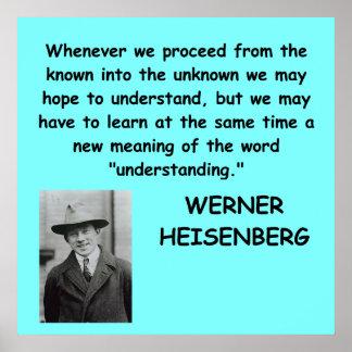 Cita de Werner Heisenberg Póster